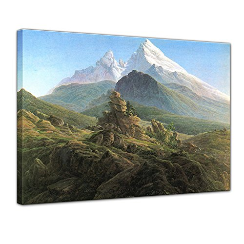 Leinwandbild Caspar David Friedrich Der Watzmann - 40x30cm quer - Wandbild Alte Meister Kunstdruck Bild auf Leinwand Berühmte Gemälde