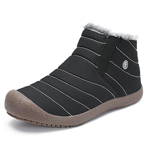 Minetom Mujer Primavera Calentar Botas Cuñas Cierre Zapatos Correr En Montaña Aire Libre Deportes Pantalones Zapatillas Running A Negro EU 45