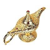 Ziv Luxury Classic Legend Aladdin Magic Genie Light Lamp Pot Classic Silver-Tin Alloy Decoration & Gift (Gold)