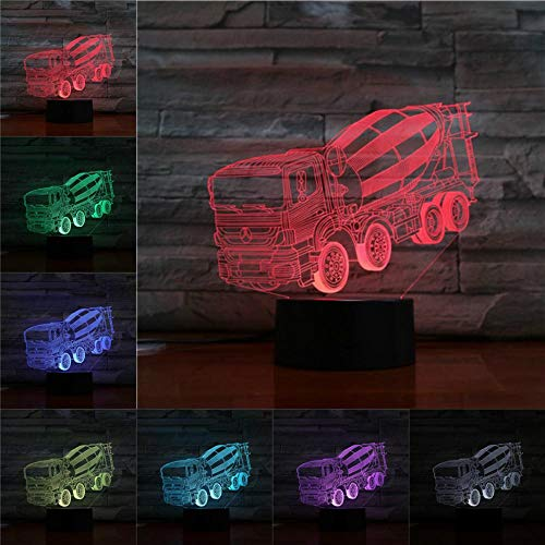 LED Night Light with Cement Mixer Pattern,7 Colors Changing with USB Cable,Touch Remote Control, Best for Children Gift Baby Bedroom and Party Decorations.