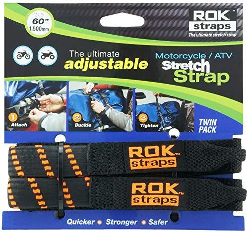 ROK Straps 10031 Adjustable Stretch Strap Tie-Downs for Motorcycle/ATV, 60' (1 Pair, Black/Orange)