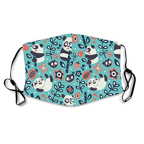 Caixiabeauty Panda Bamboe mondbescherming met oorlussen, herbruikbaar, wasbaar, adembescherming voor outdoor