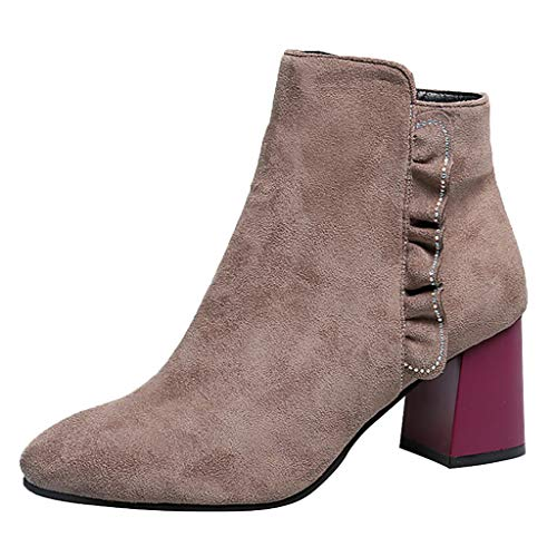 KonJin Damen Fashion Stiefeletten Stiefel Frauen Stiefel Boot Halbstiefel Damenstiefelette Bootie...