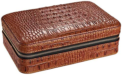 LHBNH Creative Large Capacity 4 bar Cigar Lighter Portable Travel humidor Cedar Cigar Box Sealing Performance Best Gift Ash Storage Box (Color : Brown, Size : 813.820.5cm)