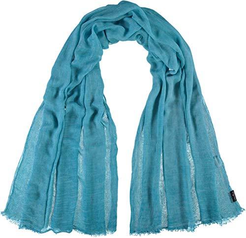 FRAAS Damen-Schal aus 100% Viskose - 100 x 200 cm Größe - Modische einfarbige Stola mit Fransen - Perfekt für den Frühling und Sommer Türkis