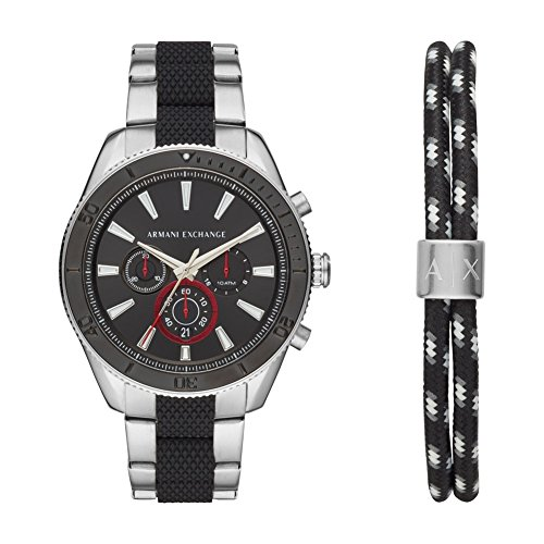 Armani Exchange Herren Chronograph Quarz Uhr mit Edelstahl Armband AX7106