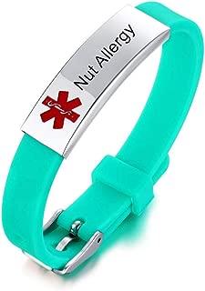 NJ Free Engraving Medical Alert Bracelet for Boys Girls - Stainless Steel Silicone Sport Band Medical ID Bracelets ICE Allergy Custom Medic Alert Jewelry for Kids Teens Adjustable