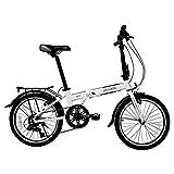 Xiaoyue Faltrad, Erwachsene faltbares Fahrrad, 20 Zoll 6-Gang-Aluminiumlegierung Urban Commuter Fahrrad, leichte, tragbare, Fahrräder mit Front- und Heckkotflügel, Hellblau lalay (Color : White)