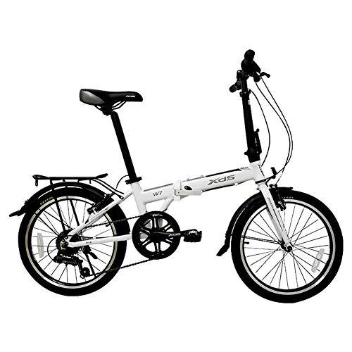 LNDDP Bicicleta Plegable, Bicicleta Plegable para Adultos, Bicicleta cercanías Urbana aleación Aluminio 20 Pulgadas y 6 velocidades, portátil Ligera, Bicicletas con Guardabarros Delantero y Trasero