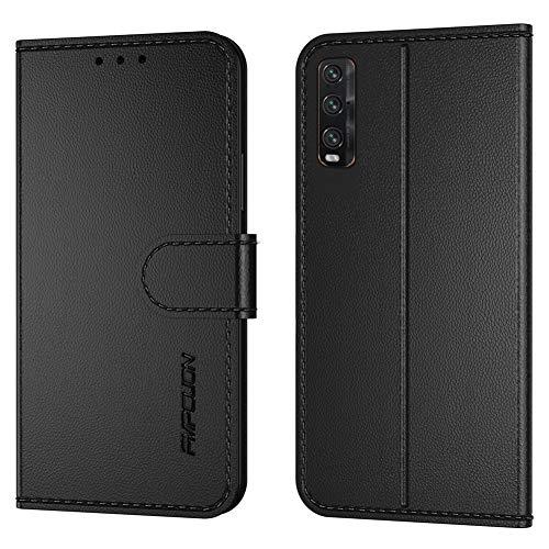 FMPCUON Handyhülle Kompatibel mit Oppo Find X2(Neueste),Premium Leder Flip Schutzhülle Tasche Hülle Brieftasche Etui Hülle für Oppo Find X2(6,7 Zoll),Schwarz