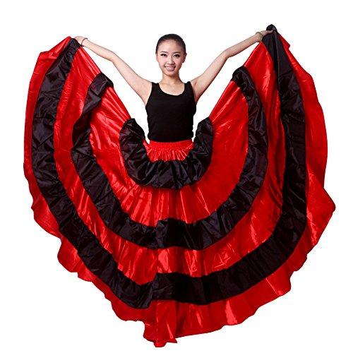 LNIGHT ベリーダンス パソドブレ用スカート サイドのスプリット 団体服 ボリュームたっぷり広がるスカート 大合唱 社交ダンス衣装 ラテンダンス フラメンコ ルンバ サンバ 練習競技着 演出服(180°)