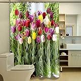 WWZEMLK Natur 3D Duschvorhänge Woods Pfirsichblüte Bad Vorhang Wasserdicht Verdickt Bad Vorhang Anpassbar