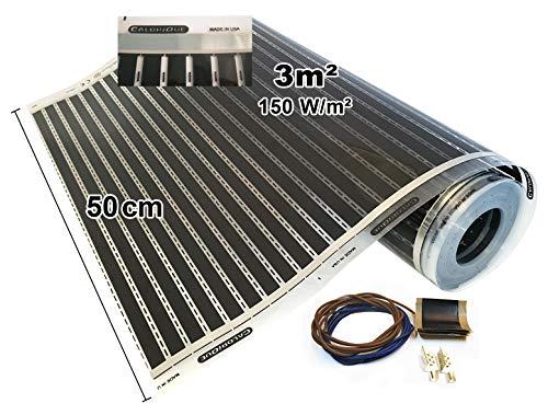 Calorique Infrarot Heizfolie Elektrische Fußbodenheizung 50 cm Set 150 W/m² 3,0 m² - effiziente und kostengünstige Heizung für Neubau oder Altbau-Sanierung