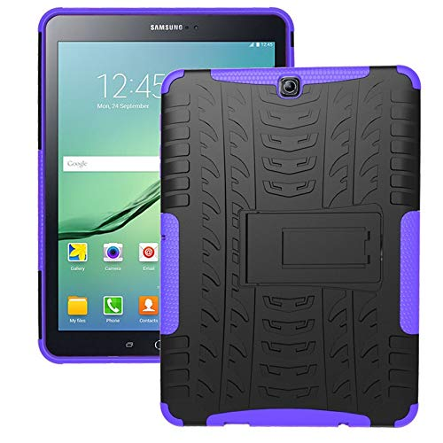 QiuKui Tab Funda para la lengüeta 9.7 S2, Galaxy Tab Caso de Shell para Trabajo Pesado de la Armadura a Prueba de Golpes Pata de Cabra Suave de la Tableta para Samsung S2 T810 T815 (Color : Purple)