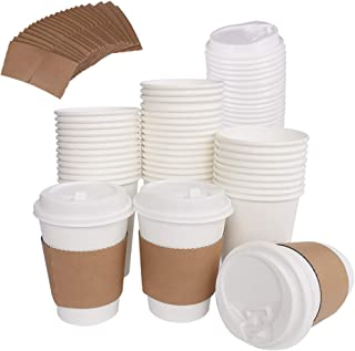 100 Pack 12OZ HotPaper Coffee Cups with Travel Lids & Kraft Cardboard Sleeves - Disposable Paper Cups For Coffee, Tea, Hot or Cold Beverage by ZMYBCPACK