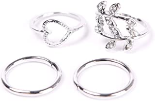 Niome 4pcs Fashion New Women Girl Rhinstone Heart Leaves Leaf Circle Knuckle Rings Set Silver