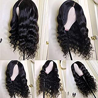 Loose Wave Lace Frontal Wig 13 6 Pre Plucked Human Hair Wig Indian Unprocessed Remy Hair Natural Black Wet And Wavy Deep Part Space 10A 13X6 130 Density With Baby Hair Pre Plucked For Women 16 Inch