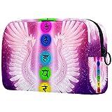 Chakras y alas de ángel Oxford bolsa de maquillaje bolsa monedero organizador multifuncional hecho a mano bolsa de tela para mujeres