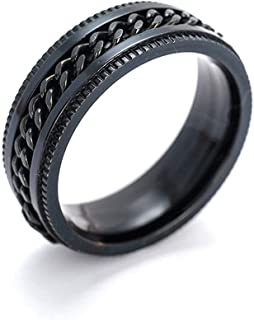 1 PCS ring unisex black titanium - stainless steel stamped ring for men, gifts for men and women(7) Useful and Practical