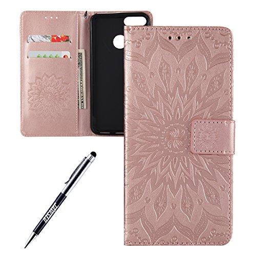 Kompatibel mit Xiaomi Mi A1 Hülle,JAWSEU Sonnenblume Schutzhülle Brieftasche Hülle Leder Tasche Handyhülle LederHülle Flip Hülle Wallet Tasche Handytasche für Xiaomi Mi A1,Mandala Rose Gold