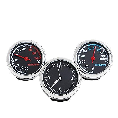 ruiruiNIE 3 Stücke Auto 4 cm Quarz Hygrometer Time Clock Temperatur Thermometer Feuchtigkeitsmesser