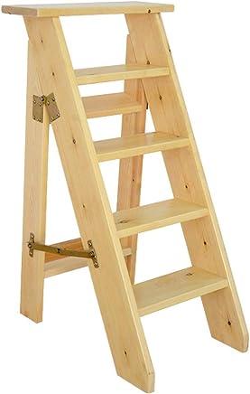 Escaleras Escalerillas Escaleras de Tijera de Madera de 5 Pasos livianas y Plegables Escalera de Tijera
