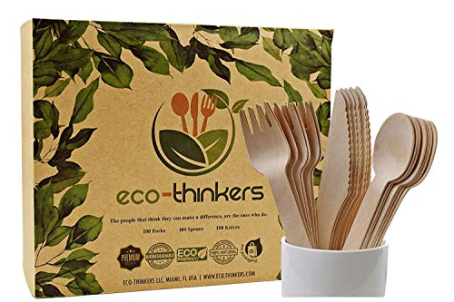 ECO-THINKERS Premium Disposable Wooden Cutlery Set. Our Wooden Utensils are Eco friendly Biodegradable Compostable & The Best Alternative to Plastic Silverware 300 Pcs of Wooden Spoons Knives & Forks