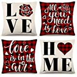 YGEOMER Valentine's Day Pillow Covers 18×18 Inch Set of 4 Black and Red Buffalo Plaid Pillow Covers Holiday Anniversary Wedding Cushion Pillow Case Valentine's Day Decorations Throw Pillow Covers