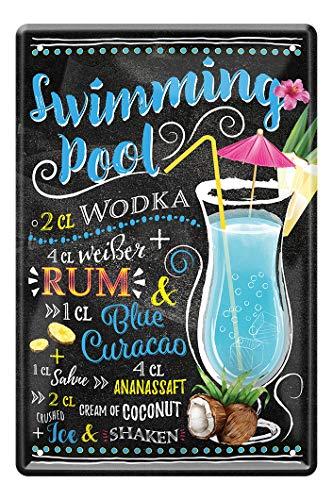 Swimming Pool Cocktail Rezept Blechschild - Retro Deko Schild - Metallschild zur Dekoration von Küche Beach Bar Pub Kellerbar Lounge Kneipe - Anleitung zum Cocktail Longdrink Mixen - 20x30cm