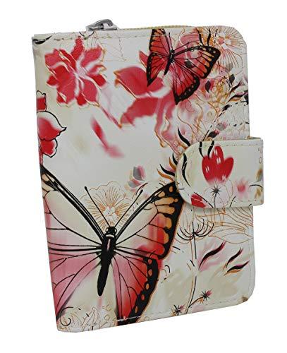 DAMEN Portemonnaie Geldbörse Geldbeutel Schmetterlingsmotiv Trend MODERN VIELE FARBEN (Beige)