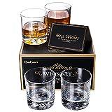 Baban Juego de Vasos de Whisky para Hombres, con 310ML Vaso de Whisky de X4, Tarjeta de Regalo X1 - Diseño de Vidrio Cortado, sin Plomo, Juego de Regalo para Hombres, Cumpleaños, Aniversario, Esposo