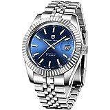 Pagani Design Japanese Automatic Mechanical Movement Men's Stainless Steel Watch Fashion Casual Watch Waterproof Elite Business Watch Men (Blue)