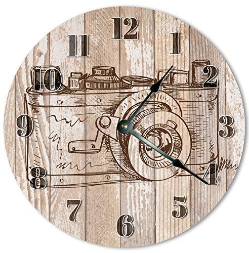 Reloj de pared redondo de 30,5 cm, funciona con pilas, con números arábigos, reloj de cámara vintage fresco, decoración del hogar #648