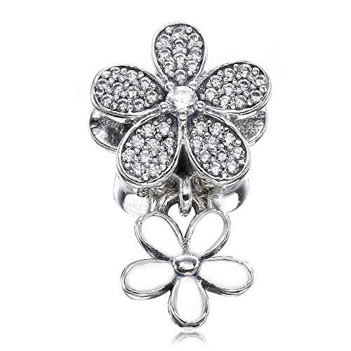 2017 wiosna kolekcja DIY pasuje do oryginalnych bransoletek Pandora autentyczne srebro wysokiej próby 925 olśniewająca stokrotka duo koraliki charm biżuteria