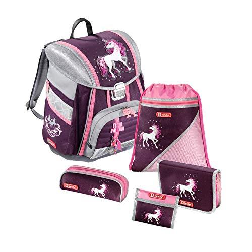 """Step by Step Schulranzen-Set Touch """"Unicorn"""" 5-teilig, rosa/Beere, Einhorn-Design, ergonomischer Tornister mit Reflektoren, höhenverstellbar mit Hüftgurt für Mädchen 1. Klasse, 21L"""