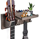FANFX Guitar Wall Mount Bracket Guitar Wall Hanger Wood Guitar Hanging Rack with Pick Holder Storage Shelf and 3 Metal Hook for Guitar Accessories Electric Acoustic Bass Guitars (Dark Brown)