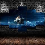 RYTR Lienzo impreso creativo regalo 5 piezas lienzo cuadros HD impresiones póster abstracto grande marco Titanic Ice Burg Ship 5 piezas lienzo decoración de pared pared pared arte