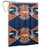 Northwest Denver-Broncos Unique Artistic Shower Curtain,Waterproof Fabric Curtain Set with Hooks 55x72 in