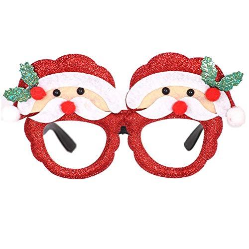 Kerstbril, frame, kerstman, hoed zonnebril, kerstkostuum, ornamenten, feestdecoratie, geschenken, bril zonder lenzen 1 exemplaar