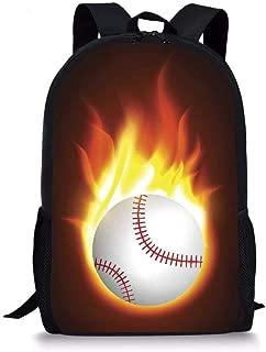 Lightweight Backpack Flame Softball Pattern Teens Boys School Bag Book bag for Kids Girls Rucksack