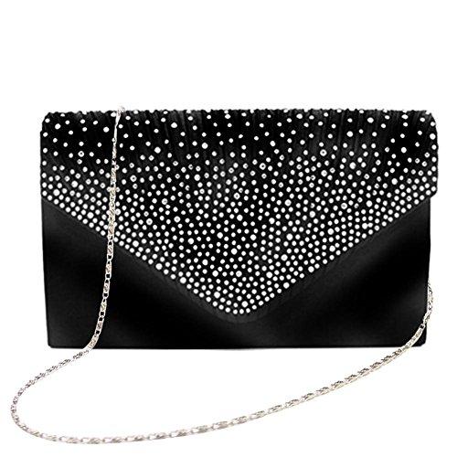 Tingtin Handtasche Abendtasche Damen Clutch Handtasche Bag Umhängetasche Kleine Schultertasche Damentaschen mit Satin Strass-Nieten für Party Hochzeit Alltag Einkauf