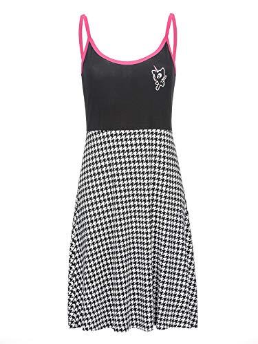 Pussy Deluxe Houndstooth College sukienka czarno-biała