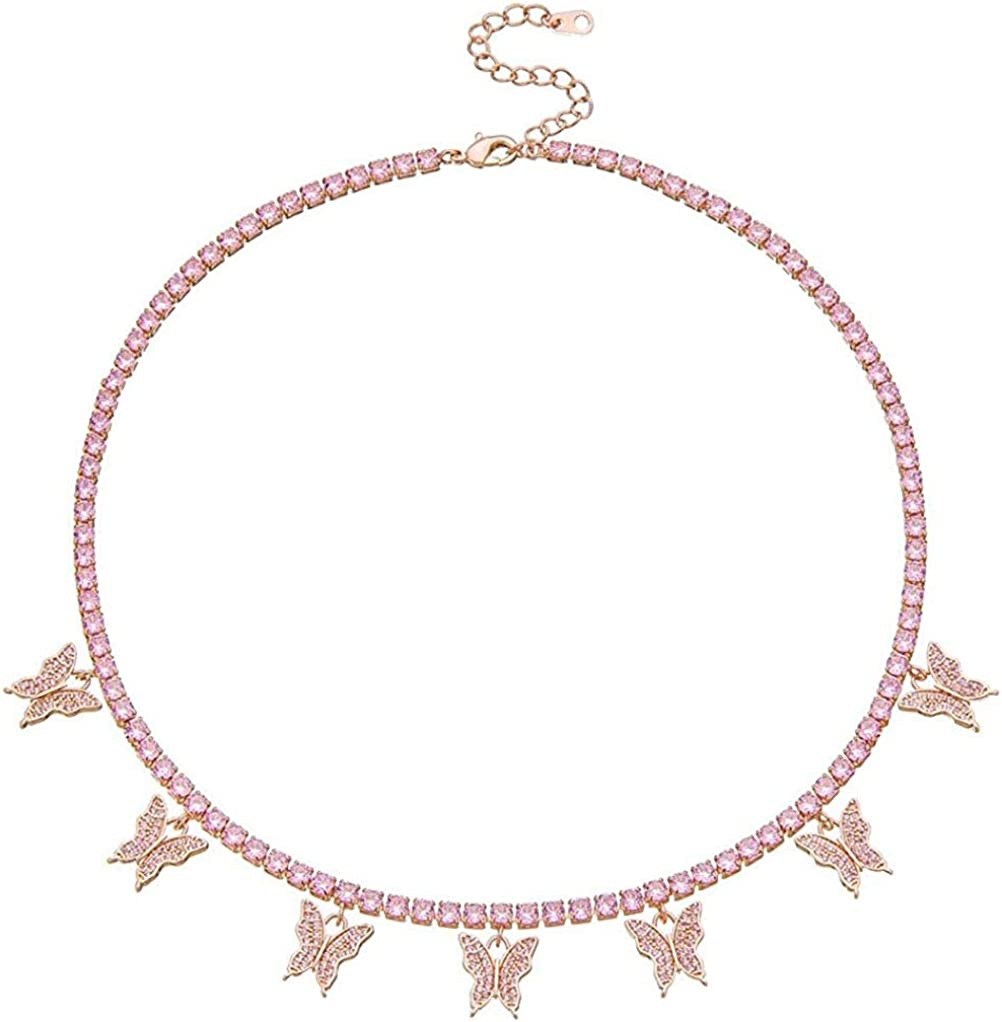 Butterfly Necklace for Women Choker Necklaces Butterfly Choker Necklace Butterfly Tennis Necklace for Wife Girlfriend Friends Gifts gold sliver pink