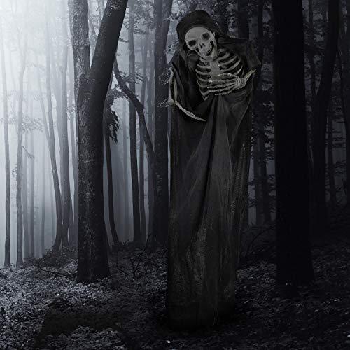 Haunted Hill Farm HHSKEL-4FLSA Life-Size Animatronic Reaper, Indoor/Outdoor Halloween Decoration, Multi
