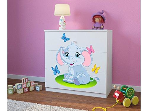 CARELLIA Commode Enfant Elephant 3 TIROIRS - Blanc