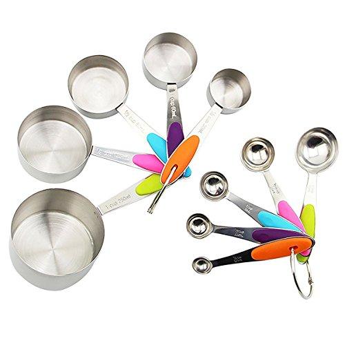 Estwell 10er Set Edelstahl Messbecher Messlöffel mit dem Silikon Griff für Küche Kochen Backen