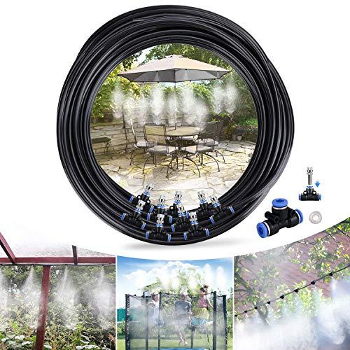 Tencoz Sistema de Enfriamiento por Nebulización, 10M 12 Boquilla Sistema de nebulización para Exteriores, Kit Nebulizadores para Terrazas para Trampolín, Parque Acuático, Sombrilla, Glorieta