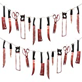 Kulannder 2 Pack Halloween Bloody Weapons Decoration, Halloween Hanging Scary Banner Fake Torture Blood Banner for Halloween Haunted House Themed Party Decor Halloween Party Supplies