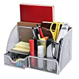 OKPOW Mesh Office Stationery Desk Tidy Organiser,6 Storage Compartment,for Office,Home (Silver)