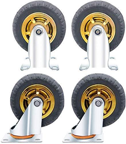 DJY-JY 4 Castor Wheels,Heavy Duty Castors Swivel Wheel Rubber Casters For Furniture Table Trolley Bed Workbench 5-inch Casters